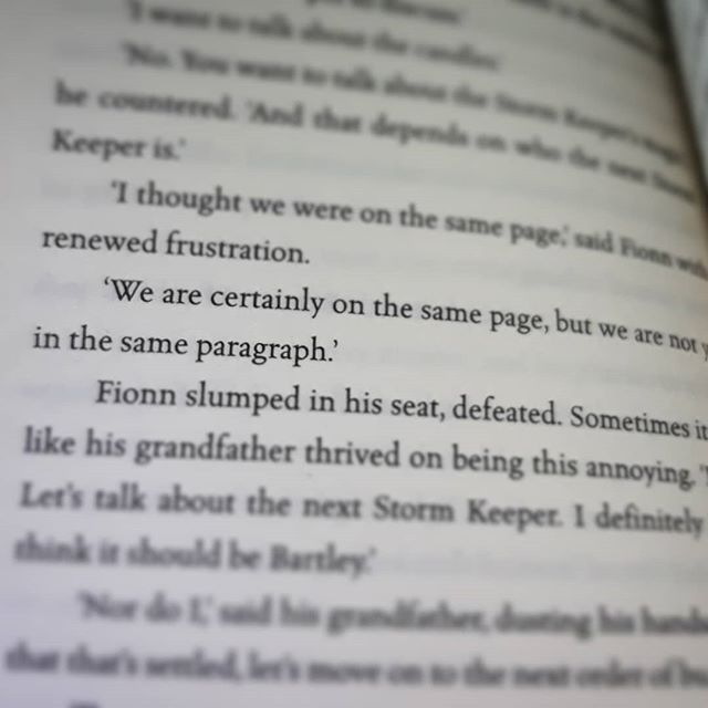 """We are certainly on the same page, but we are not yet in the same paragraph."" #TheStormKeepersIsland @cat_doyle0 #amreading #books"