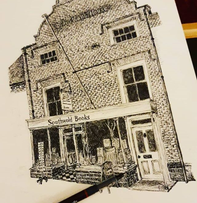 #Repost @t.e.shepherd.art • • • • • Not a bad evening's work. One more night and I think I might be able to finish up @southwoldbooks… #illustration #amillustrating #bookshops #bookshopsofinstagram #bookloversguidetobookshops
