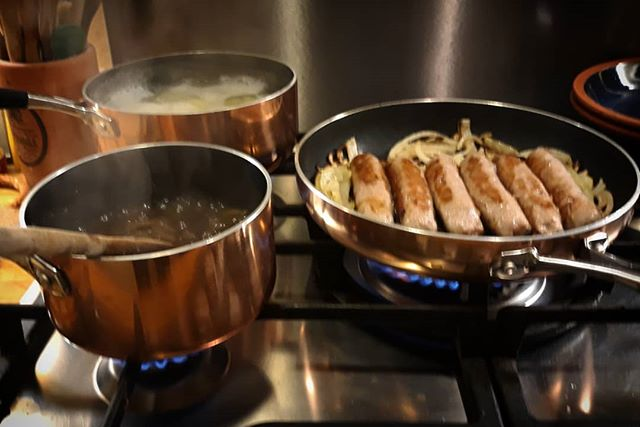 Winter warmer... #sausages #mash #newsaucepans