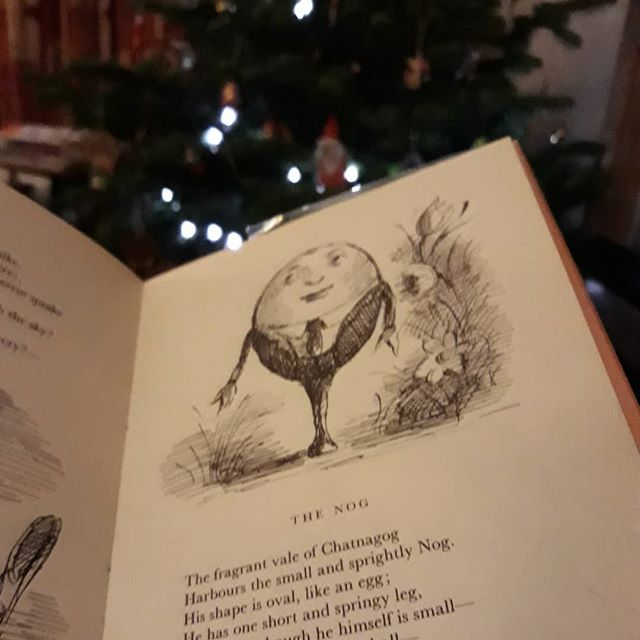 The fragrant vale of Chatnagog / Harbours the small and sprightly Nog. / His shape is oval, like an egg; / He has one short and springy leg. // #amreading #MorePrefabulousAnimals #EdwardArdizzone