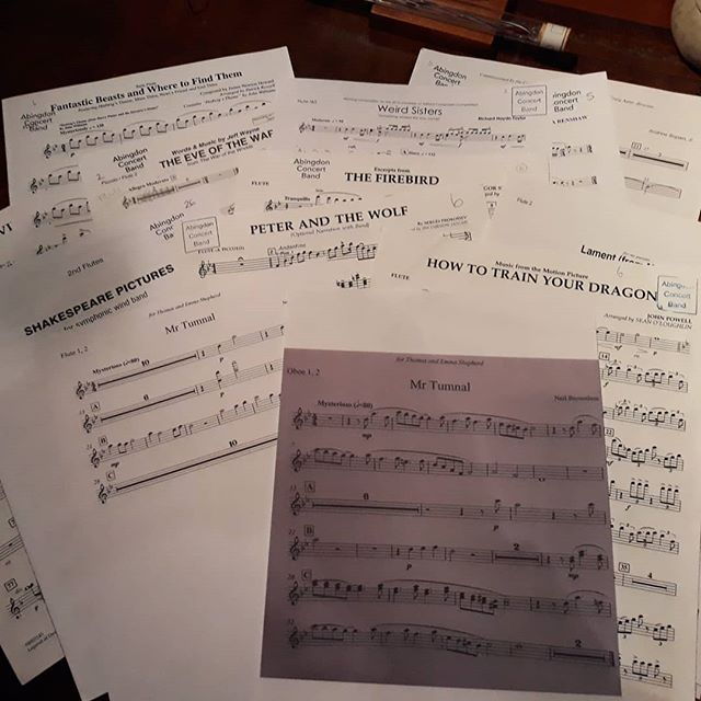 Lots of new music on the stands tonight at @abingdonconcertband, and you know our next Storytelling concert is going to be a good one when there's the theme to my own #MrTumnal to play. Sorry oboes (@laurapicklechop and Mary) for the solo but it's what @vnemma heard and transcribed and was in my head even though I didn't know it. And thank you @neilbrownless for making it real.