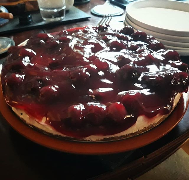 Black cherry cheesecake. Well that was a scrumptiously yummy result. So, so simple to make too.