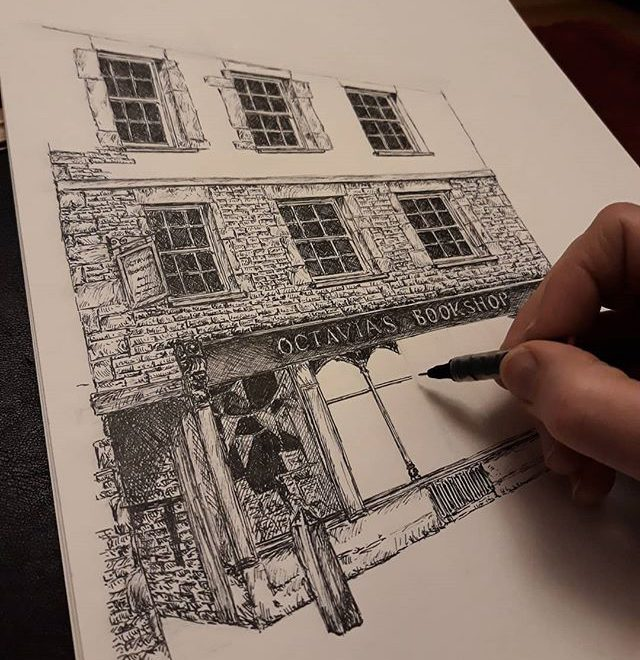 Why do I always draw buildings with so many bricks? #somanybricks #amillustrating #illustration #bookshopsofinstagram #bookshops  #bookloversguidetobookshops