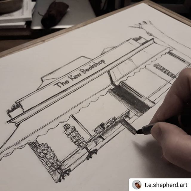 #Repost @t.e.shepherd.art • • • • • Not so many bricks in this one, one-stroke by pen-stroke, the @kewbookshop is taking shape… ••• #bookshops #bookshopsofinstagram #bookloversguidetobookshops #illustration #amillustrating @bookshopblogger