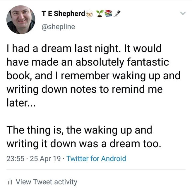 Unlike so many dream stories,  this one was really good. Why did my decision to write it down have to be a dream too? Its annoying!!