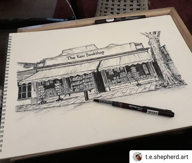 #Repost @t.e.shepherd.art • • • • • And its done! It's amazing how just putting a bit in to each side of @kewbookshop grounds it so much into the street. ••• #stationapproach #bookshops #bookshopsofinstagram #bookloversguidetobookshops #illustration #amillustrating @bookshopblogger
