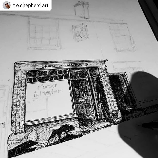 #Repost @t.e.shepherd.art • • • • • #MurderandMayhem is a shop so creepy, just walking by the outside could send a shiver down your spine… #bookshops #bookshopsofinstagram #bookloversguidetobookshops #illustration #amillustrating @addymanbooks @bookshopblogger  @bexturner23