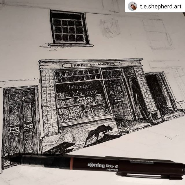 #Repost @t.e.shepherd.art • • • • • Possibly not since I #illustrated @rach.h.art's windows in @waterstones_oxford have I enjoyed detailing every intricacy of shop display. #MurderandMayhem seems to have it all… #bookshops #bookshopsofinstagram #bookloversguidetobookshops #illustration #amillustrating @hayfestival @addymanbooks @bexturner23