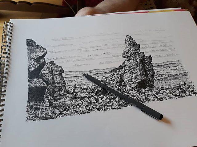 Sorry, @bookshopblogger, I put clouds in. I hope they work for you? #ManstoneRock #landscape #notabookshop #illustration #amillustrating