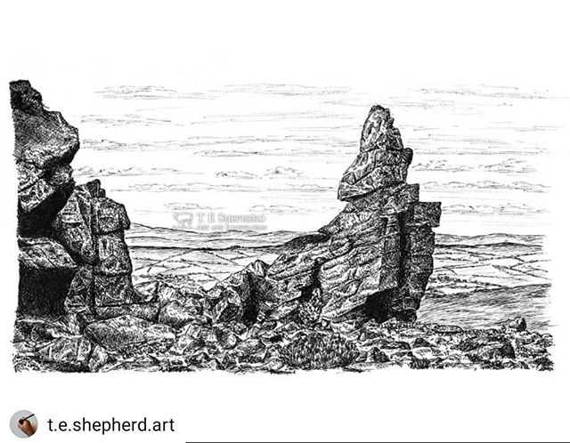 #Repost @t.e.shepherd.art • • • • • I don't just #illustrate #bookshops. Manstone Rock in the Stiperstones Nature Reserve is the second highest peak of Shropshire. ••• Prints are now available: https://www.etsy.com/uk/listing/724577447/manstone-rock-stiperstones-shropshire ••• #landscapes #ManstoneRock #Stiperstones #shropshirehills #Shropshire
