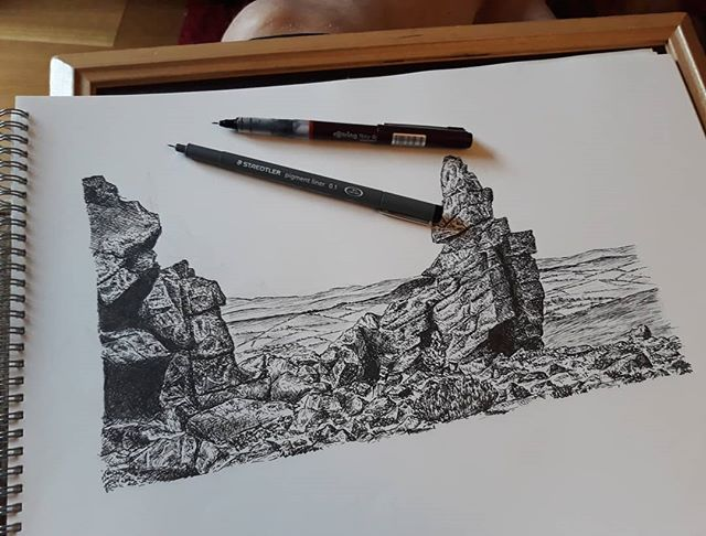 Just debating whether I should attempt to add clouds, or will that only go and ruin it? #ManstoneRock #landscape #illustration #amillustrating