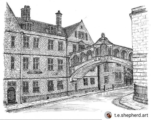 #Repost @t.e.shepherd.art • • • • • The picture that almost defeated me. Oxford's #BridgeofSighs is now finished. Prints and original are now available: https://www.etsy.com/uk/listing/714577204/bridge-of-sighs-oxford ••• #Oxford #landmarks #illustration #amillustrating