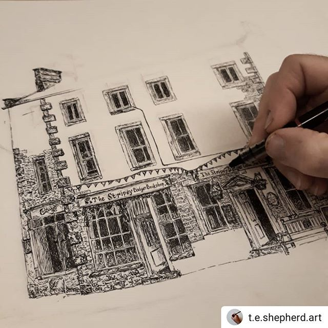 #Repost @t.e.shepherd.art • • • • • One year old today, #thestripeybadgerbookshop is as delightful inside as the building is outside… #bookshops #bookshopsofinstagram #bookloversguidetobookshops #illustration #amillustrating #grassington #Yorkshire #yorkshiredales