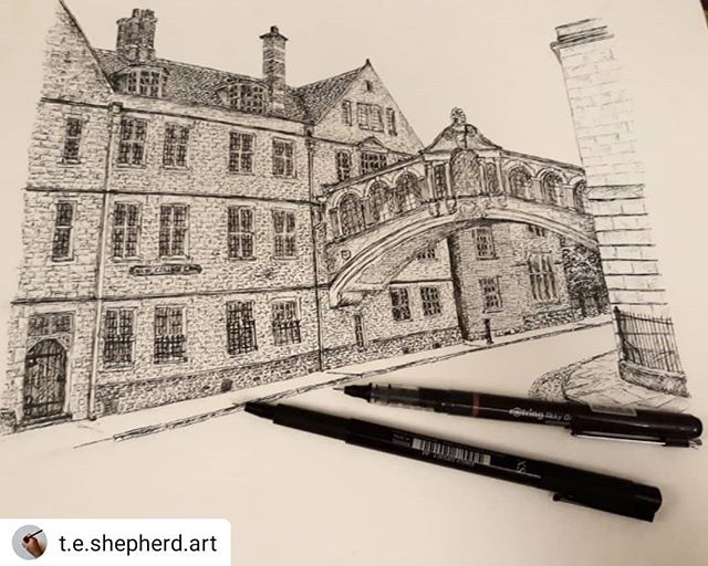 #Repost @t.e.shepherd.art • • • • • Almost there. One more evening should do it… #BridgeofSighs #Oxford #landmarks #illustration #amillustrating @hertfordcollege @weloveoxford