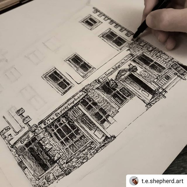 #Repost @t.e.shepherd.art • • • • • Friday night sketching at the #stripeybadgerbookshop… ••• #bookshops #bookshopsofinstagram #bookloversguidetobookshops #illustration #amillustrating #grassington #Yorkshire #yorkshiredales