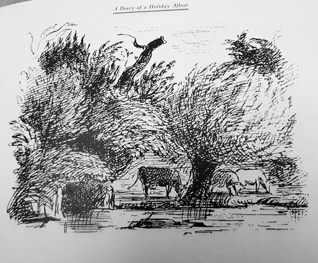 Love the simplicity of lines that make the riverside trees moving in a light wind… #EdwardArdizzone @allthingsardizzone