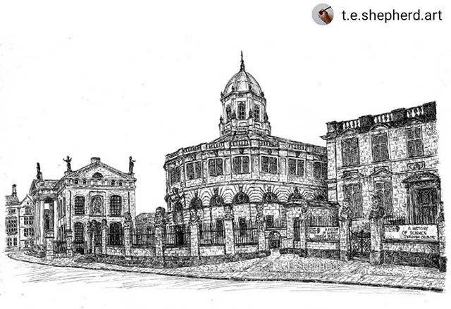 #Repost @t.e.shepherd.art • • • • • I'm thrilled with how well my #illustration of #Oxford's @sheldoniantheatre has worked out. I'd love to know what you think? ••• The original and prints now available from @etsyuk and at this year's @cogges #ChristmasMarket: https://www.etsy.com/uk/listing/731912258/sheldonian-theatre-oxford #SheldonianTheatre #amillustrating
