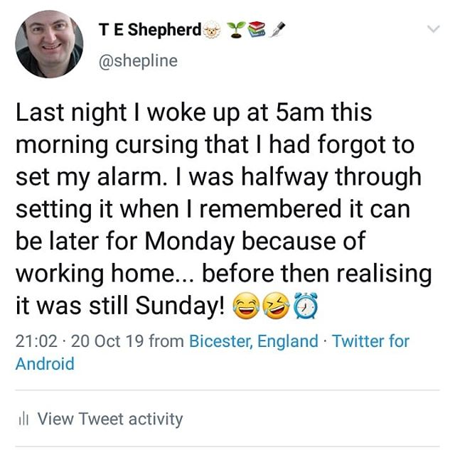 Last night I woke up at 5am this morning cursing that I had forgot to set my alarm. I was halfway through setting it when I remembered it can be later for Monday because of working home... before then realising it was still Sunday! 😂🤣⏰