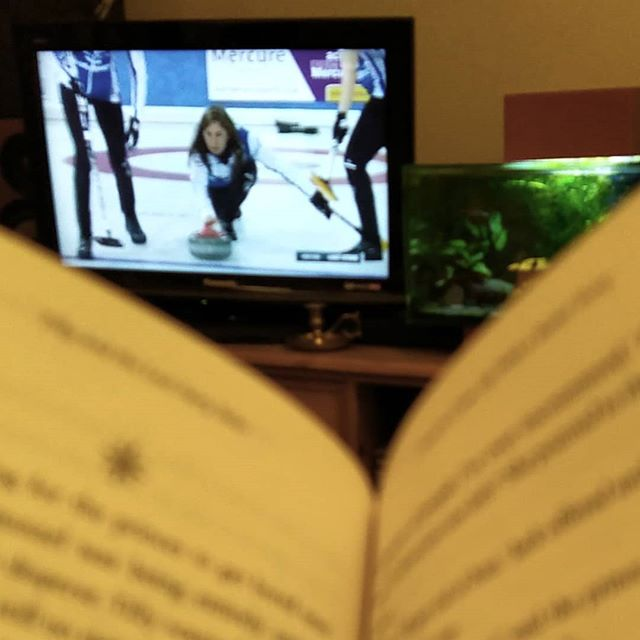 Tea, book, and curling... #loveWinter #curling #TeamMuirhead @team_muirhead @evemuirhead