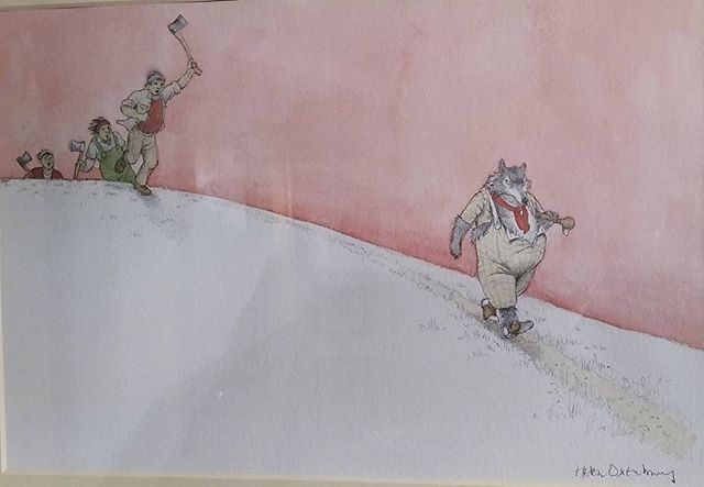 Just got to see these original paintings from Helen Oxenbury's Red Riding Hood sand discovered that she too is a massive fan of Edward Ardizzone!  @chrisbeetlesgallery #TheIllustrators #HelenOxenbury #EdwardArdizzone