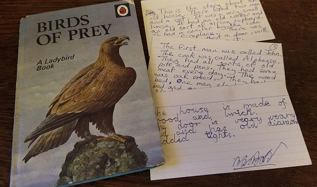 Rediscovered today, tucked inside the @ladybirdbooks Birds of Prey, possibly my first ever story, written c. aged 6. . This is the story of John and Alfonse and the first two cards were dictated by me to my Dad, and the third was written by me with suspect phonetic spelling… . #earlyworks #stories #authorsofinstagram