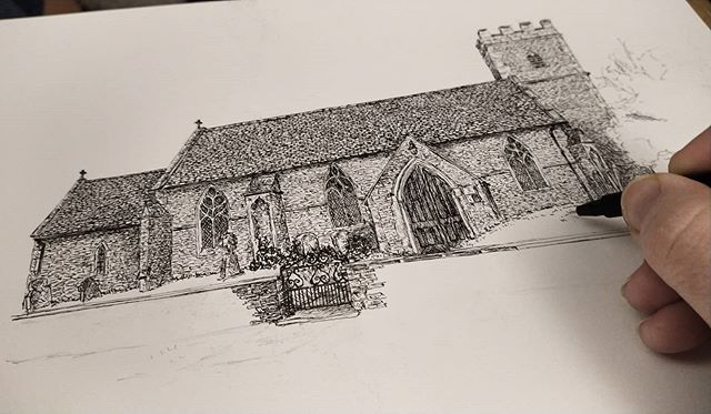 The tiny, tiny church at Ducklington in Oxfordshire is simply an adorable little thing... #StBarthomolews #church #illustration #illustratorsofoxfordshire #illustratorsofinstagram ##OxfordshireArtweeks #oxfordshirecollection #amillustrating