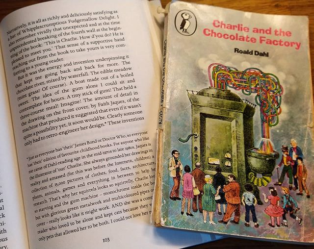 Love the fact that whilst reading @lucy.mangan's description of the cover to #RoaldDahl's #CharlieandtheChocolateFactory, I recognised it as the exact same edition as I remember falling in love with… #books #amreading #illustration #BookIllustration #FaithJaques