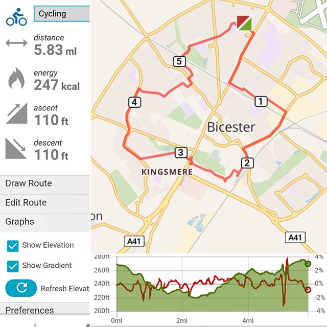 Today's cycle ride round the #InnerBicester: 6 miles in about 40 minutes… #coronavirus #lockdown #amcycling🚴