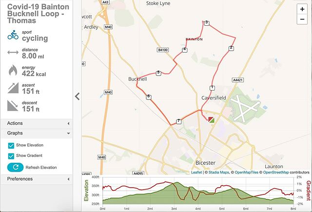 Today's exploits involved the Bainton Bucknell Loop which turned out to be 8 miles in 40 minutes (inc. photo stops) in glorious weather and quiet countryside... #DailyExercise #coronavirus #lockdown . Anyone know of any good distance tracker apps?