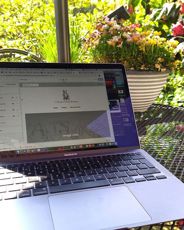 No more day job for 10 days so moved to the al fresco home office to work on launching a new online shop for my art... . #illustration #art #artistsofoxfordshire #comingsoon #OxfordshireArtweeks