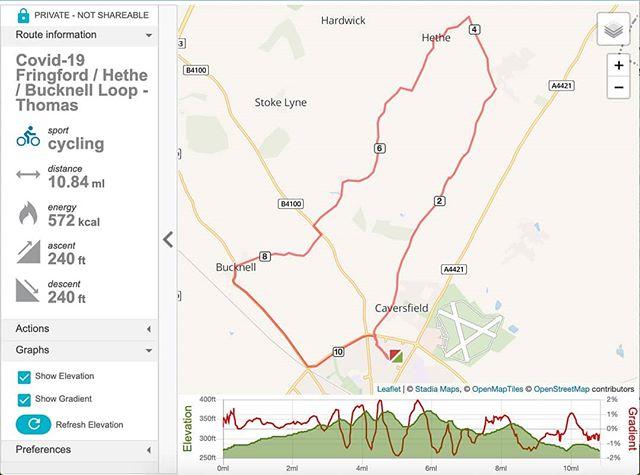 Today's #lockdown #DailyExercise was 11 miles of the Hethe Bucknell Loop… #coronavirus #amcycling🚴