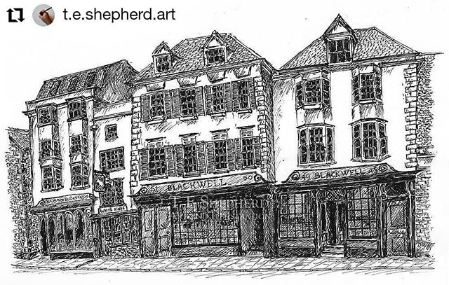 "#Repost @t.e.shepherd.art • • • • • • Blackwell's Bookshop  Selling as part of #artistsupportpledge created by @matthewburrowstudio. Each #illustration will be £200 or below (not including postage and framing if required) and every time I reach £1000 I promise to buy another artists piece for £200. DM me if you are interested. Thanks! • • • Two years ago I began a project to create an illustrated #BookloversGuideToBookshops, and @blackwelloxford has to be the biggest bookshop of the lot. • • • Blackwell's Bookshop Oxford Pen & Ink 10×6"" £200 • • • #artistsupportpledge #supportartists #penandink #bookshops #indiebookselleres #bookshops #artistsoninstagram #illustratorsofinstagram #contemporaryartist #support #artist #lockdown #lockdown2020"